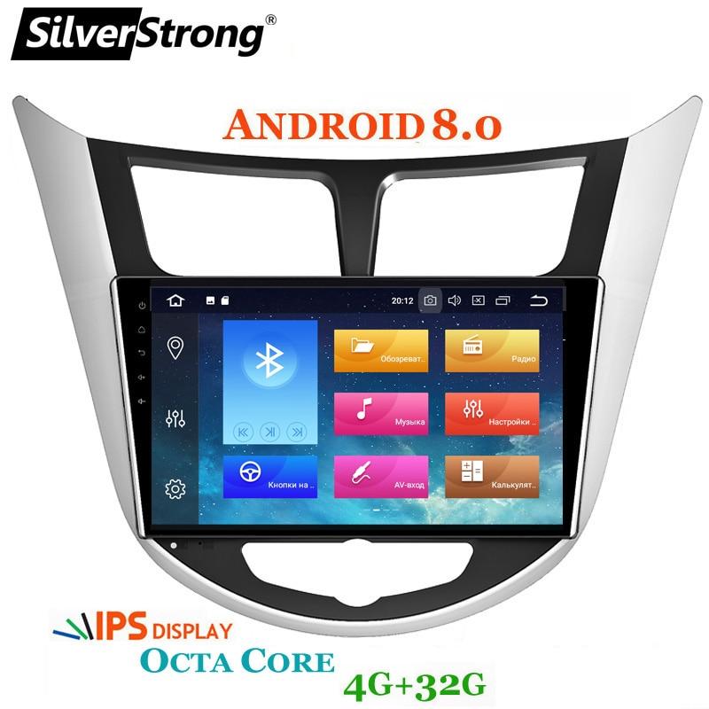 SilverStrong Android8.0 pour Solaris Navigation pour Hyundai Accent Solaris Android OctaCore 2DIN GPS autoradio pour Solaris Radio