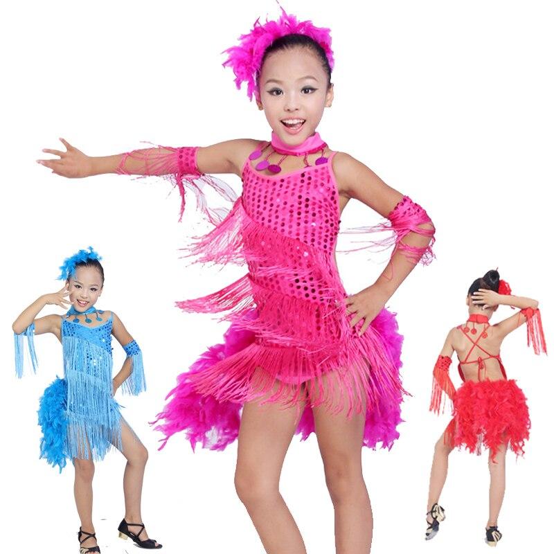 Filles robe de danse latine rouge noir gland robe de danse for Rumba danse de salon