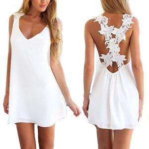 2019 summer famous beach women causal A-line chiffon patchwork sleeveless dresses girl fashion bow mini v-neck dress