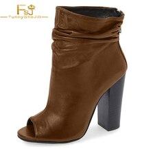 1ce6080fcba Brown Slouch Boots Chunky Heel Peep Toe Ankle Boots Women Fashion FSJ Shoes  Women Fur Black