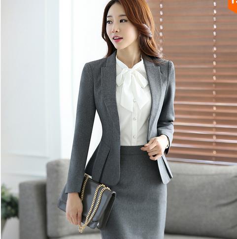4c75b82e444 2016 fashion autumn business suit plus size skirt suits OL slim work wear  office ladies long