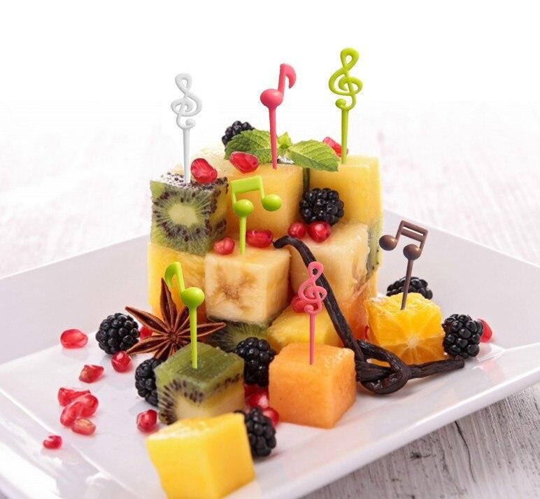 Фруктовая вилка с музыкальной ноткой, 16 шт., детская мини-закусочная, торт, десерт, еда, фрукты, зубочистка, бенто, вечерние обеды, украшения