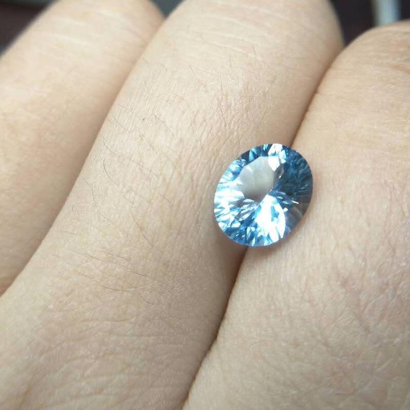 Tbj, topaze bleu ciel naturel ovale concave coupe 8*10mm 3ct pierre précieuse en vrac naturelle pour 925 bijoux en argent, deux pièces dans un lot
