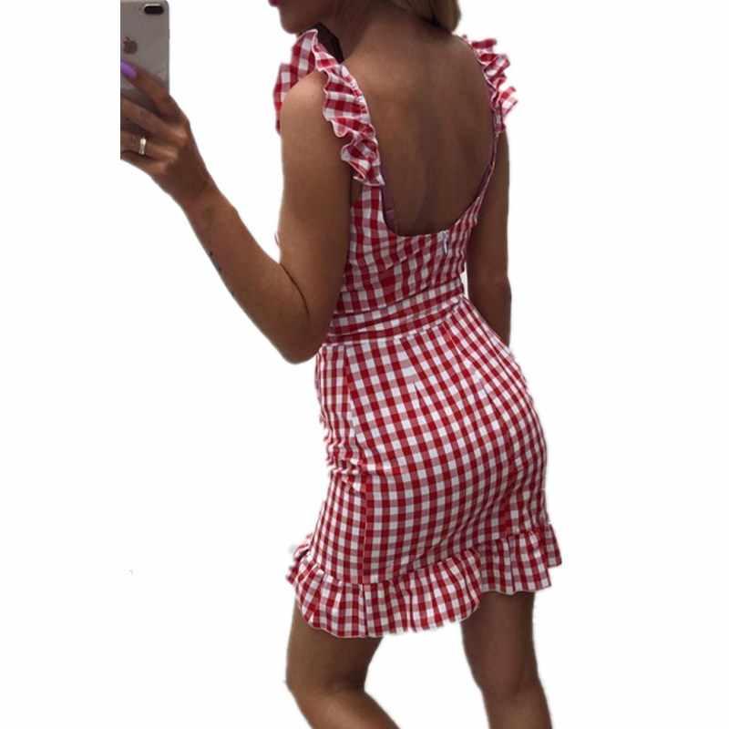 Клетчатое облегающее мини-платье с оборками и v-образным вырезом, без рукавов, с открытой спиной, с поясом, женские летние платья с поясом, праздничное платье, новинка
