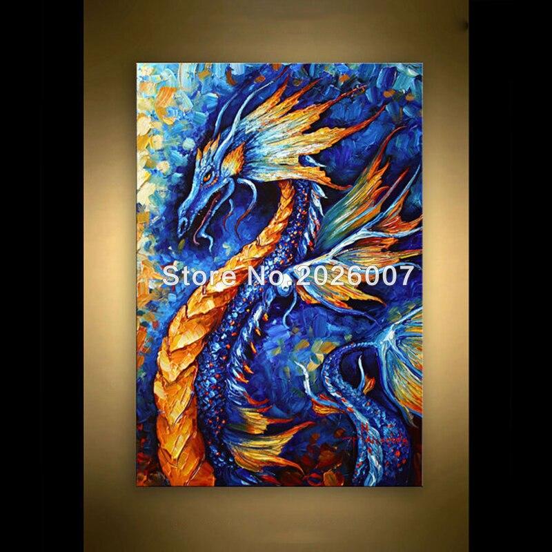 Peint à la main abstrait Dragon en bleu Palette couteau abstrait peinture à l'huile sur toile moderne peinture décoration salon mur