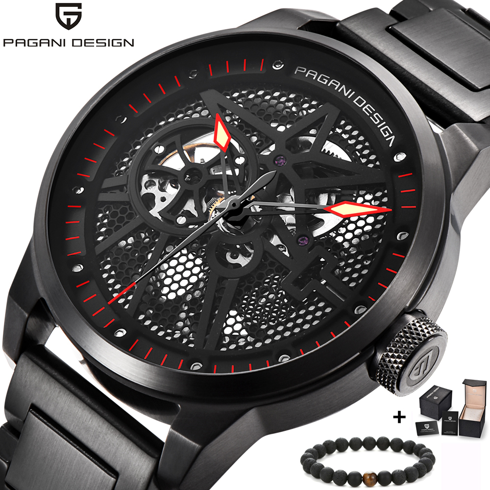 PAGANI Mens watches luxury mechanical watch transparent bottom fashion rhinestone dial black steel Clock men relogio masculinoPAGANI Mens watches luxury mechanical watch transparent bottom fashion rhinestone dial black steel Clock men relogio masculino