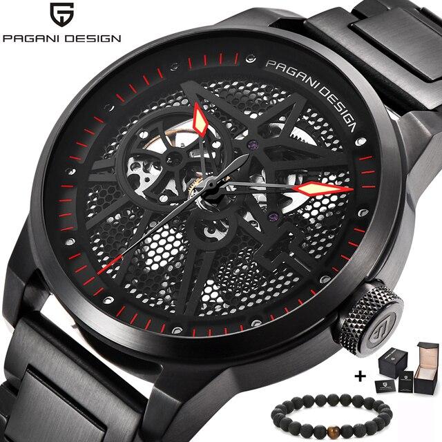 44801285898 PAGANI relógio mecânico Dos Homens relógios de luxo fundo transparente moda  rhinestone dial black steel Relógio