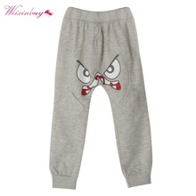 Special Bird Pattern Kids Toddler Boys Cotton Mid Elastic Harlan Pants Trousers Gray Black(China)