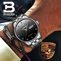39mm relogio masculino BINGER Mens Watches Top Brand Luxury Casual Business Automatic Watch Steel Mechanical Wristwatch Gift