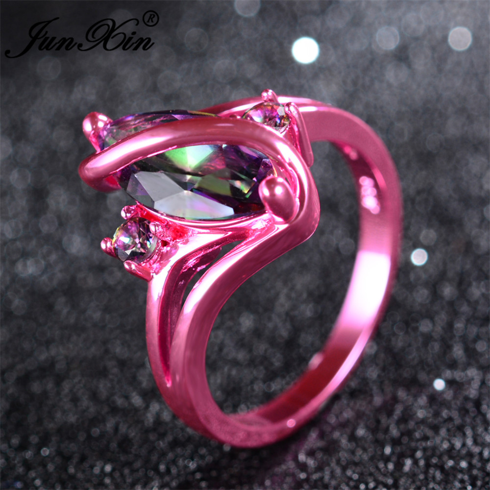 JUNXIN 2017 Newest Mystery Women Rainbow Ring Pink Gold Filled ...