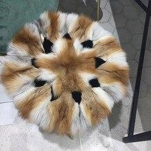2019 New Products Red Fox Fur Sofa Floor Round Cushion Square Handmade Real Fur Warm Cushion sofa cushion four seasons universal european non slip cushion linen sofa towel