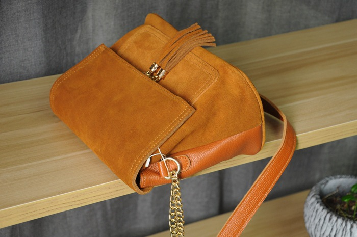 Women Genuine Leather Fringe Shoulder Bags Fashion Cow Suede Tassel Brown Chain Multi Pockets Crossbody Bucket Bags (7)