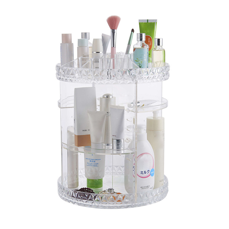 Rotating Acrylic Transparent Cosmetic Storage Box with Multi layer for Daily Use E2S