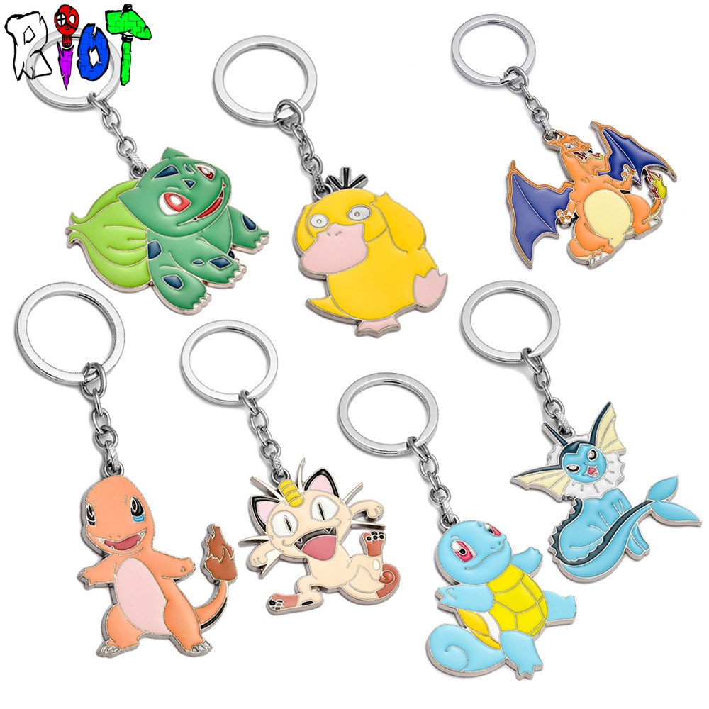 7 type Pokemon Go Pocket Monsters keychain metal pendant key chains High quality chaveiro charms keyring colours toys jewelry