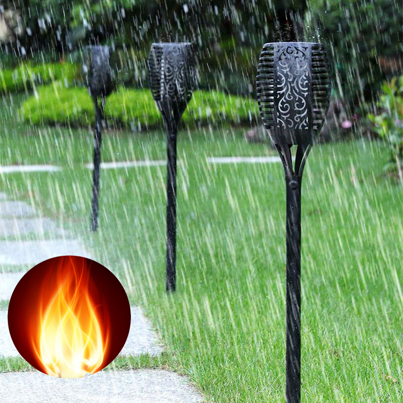 5pcs LED Solar Flame Light 96LED Flickering Torch Lights Waterproof Path Lamps for Garden Lawn Pathways Yard Outdoor/Indoor jmkmgl solar flame lights path dancing flame lighting 66 led dusk to dawn flickering outdoor waterproof fence garden wall lights