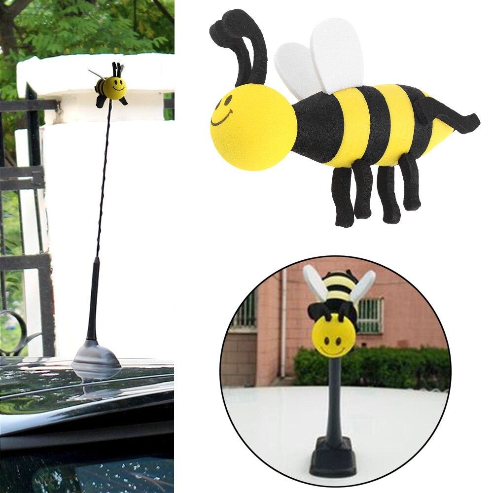 1x Adorable Smiley Honey Bumble Bee Cartoon Car Antenna Ball Decor Aerial Topper
