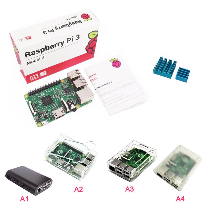 Prix pour RS Version Raspberry Pi 3 Modèle B + ABS Cas Acrylique Cas + Aluminium Bleu Dissipateur de Chaleur pour RPI 3 avec Livraison Gratuite