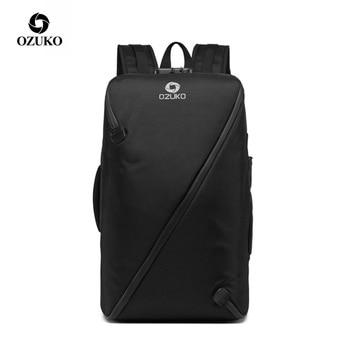 ozuko men backpacks new design waterproof anti theft usb charge large travel bag 15 6 laptop backpack school bags for teenagers OZUKO Men Backpack  Anti Theft Male 15.6 inch Laptop Backpacks Fashion Large Travel Teenage Backpack Bag Waterproof School Bags
