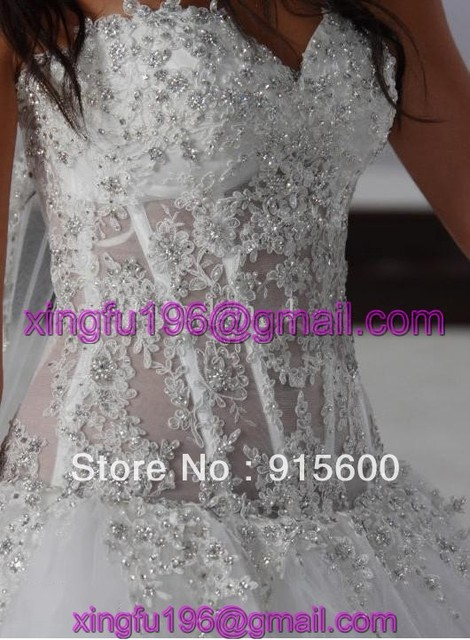 Wholesale - Custom made ball gown bridal wedding dress Pnina Tornai beading embroidering chiffion Wedding Dress