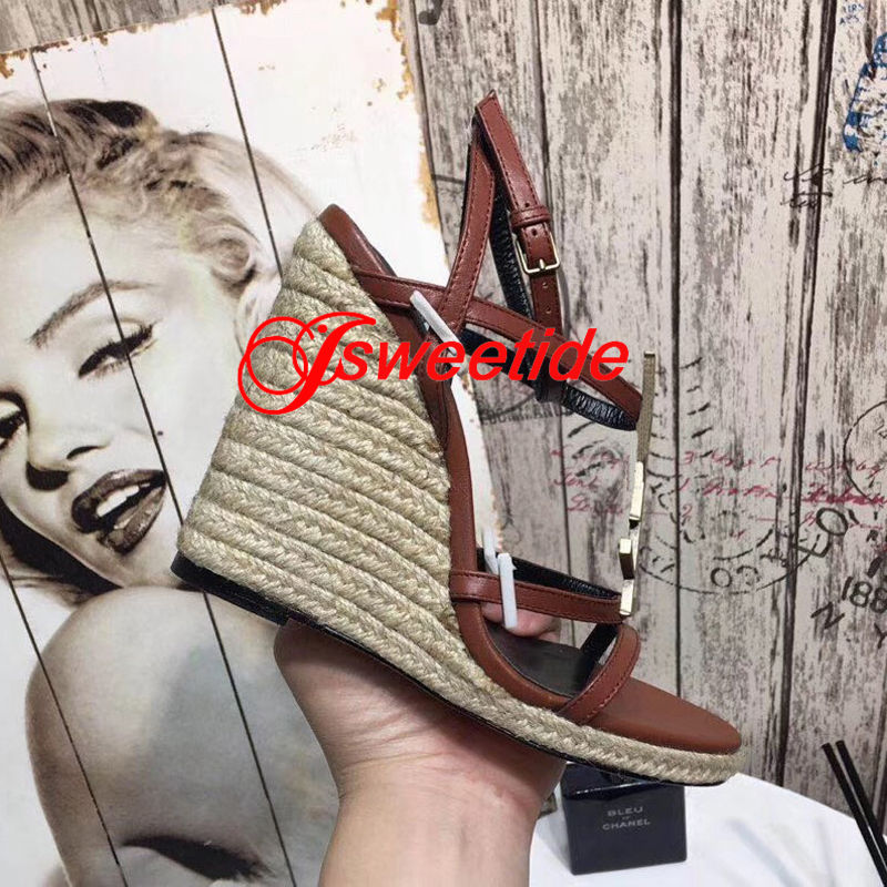 Echtes Leder Freizeit und komfort Keil sandalen frauen schuhe Dicken boden Keil frauen mode hohe qualität high heels schuhe-in Hohe Absätze aus Schuhe bei  Gruppe 3