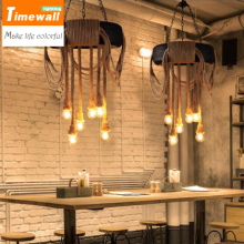 American industrial air personality living room restaurant cafe tire rope chandelier lighting retro iron bar