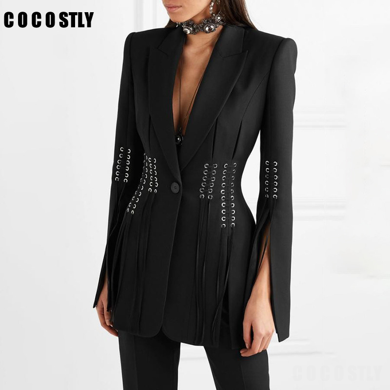 Women Blazer Bandage Coat Button Long-Sleeve Female Slim Black Autumn Fashion Casual