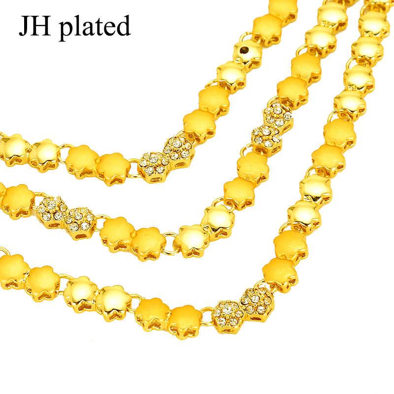 Jhplated dubai conjuntos de jóias cor ouro colar & brincos jóias oriente médio egito/turquia/iraque/áfrica/israel