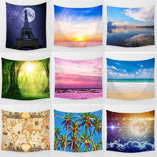 Hot sale brand pink sky stars  map sea beach wall hanging tapestry home decoration wall tapestry tapiz pared sky ballons print tapestry wall hanging decoration