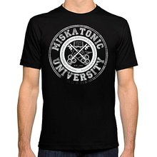купить Cheap Mens Graphic T Shirts Miskatonic University Emblem Dark Version   Short Men Crew Neck Printed Tee онлайн