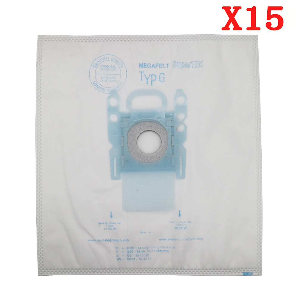 15Pcs/Lots Vacuum Cleaner G Type Cloth Dust Bags Type G For Bosch & SIEMENS BSG7 BSGL3126 BSG6