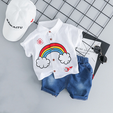 New Baby Clothes Summer Cotton Infant Clothing Formal Shirt+Jeans Shorts 2pcs Baby Suit Cotton Newborn Boy Set Wedding and Party