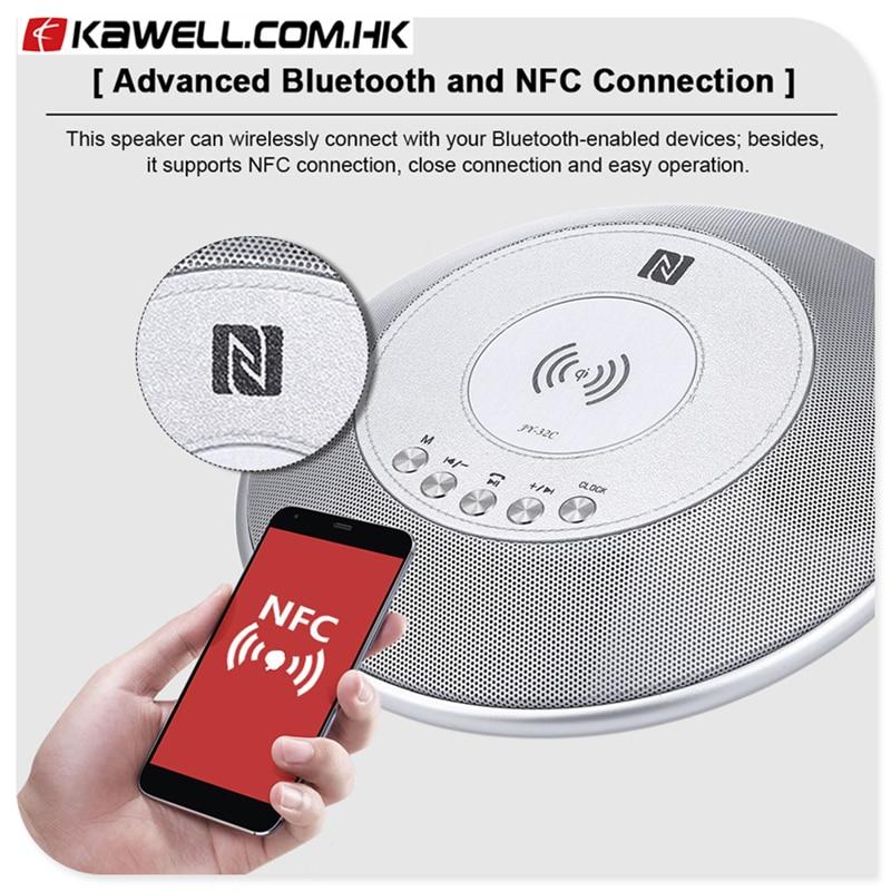 Haut-parleur Portable Bluetooth chargeur sans fil QI haut-parleur audio stéréo avec Support micro affichage de l'heure FM NFC