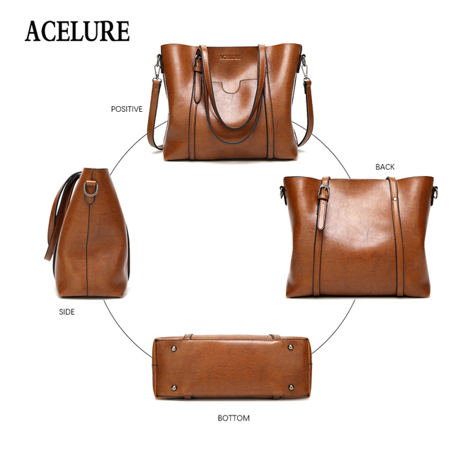 ACELURE Women bag Oil wax Women's Leather Handbags Luxury Lady Hand Bags With Purse Pocket Women messenger bag Big Tote Sac Bols 3