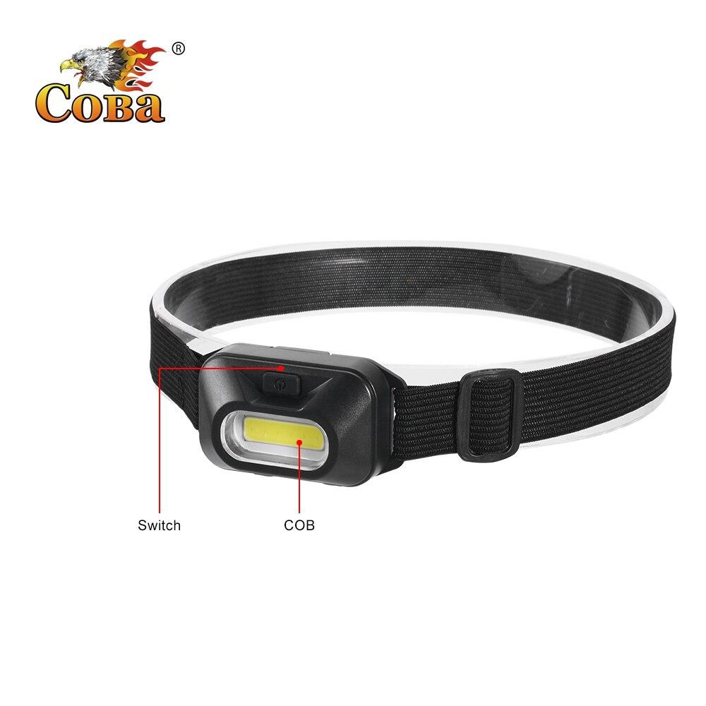 Coba Cob Headlamp Portable Mini Headlight 5 Colors 3 Modes Use 3*AAA Battery Waterproof Super Bright Lights Camping Running