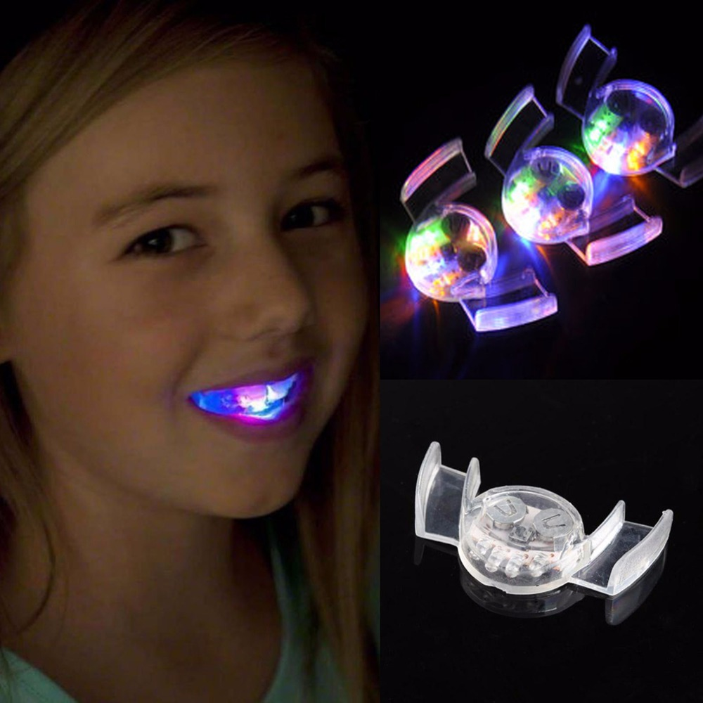 Funny Novelty Flashing Flash Brace Mouth Guard Piece  Glow Tooth  LED Light Kids Children Toys Festive Party Supplies