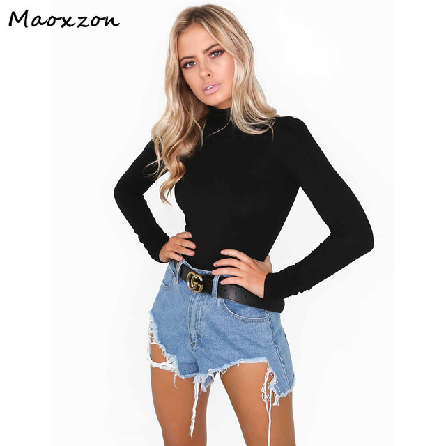 58bffb1ec1b8 Maoxzon Women Turtleneck Full Sleeve Black Sexy Bodysuits Slim Bodycon  Triangle Rompers Womens Jumpsuits Short One-piece Pants