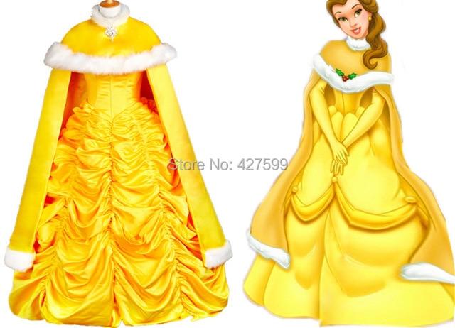 schöne und das biest belle kleid cosplay mit Umhang halloween ...