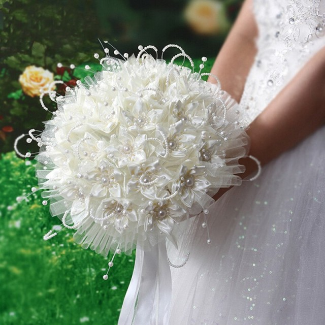 Trendy Beige Wedding Bouquet Handmade Bridesmaid Bridal Flower ...