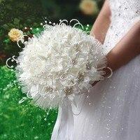 Trendy Bej Düğün Buket El Yapımı Gelinlik Gelin Çiçek Buketleri Düğün Çiçek Yapay Çiçek Inciler Buket