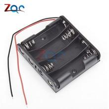 """Пластиковый корпус для хранения батареи 4 x коробка AA держатель черный с """" проводными проводами"""