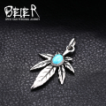 One Piece Sale Cool Green Turquoise Pendant For Man Stainless Steel Hot Sale Usa Jewelry BP8-170