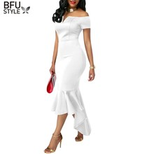 Off Shoulder Women Dress Sexy Mermaid Elegant Short Sleeve Front Slit Sheath Slim Casual Jersey Formal Party Club Vestidos Robe(China)