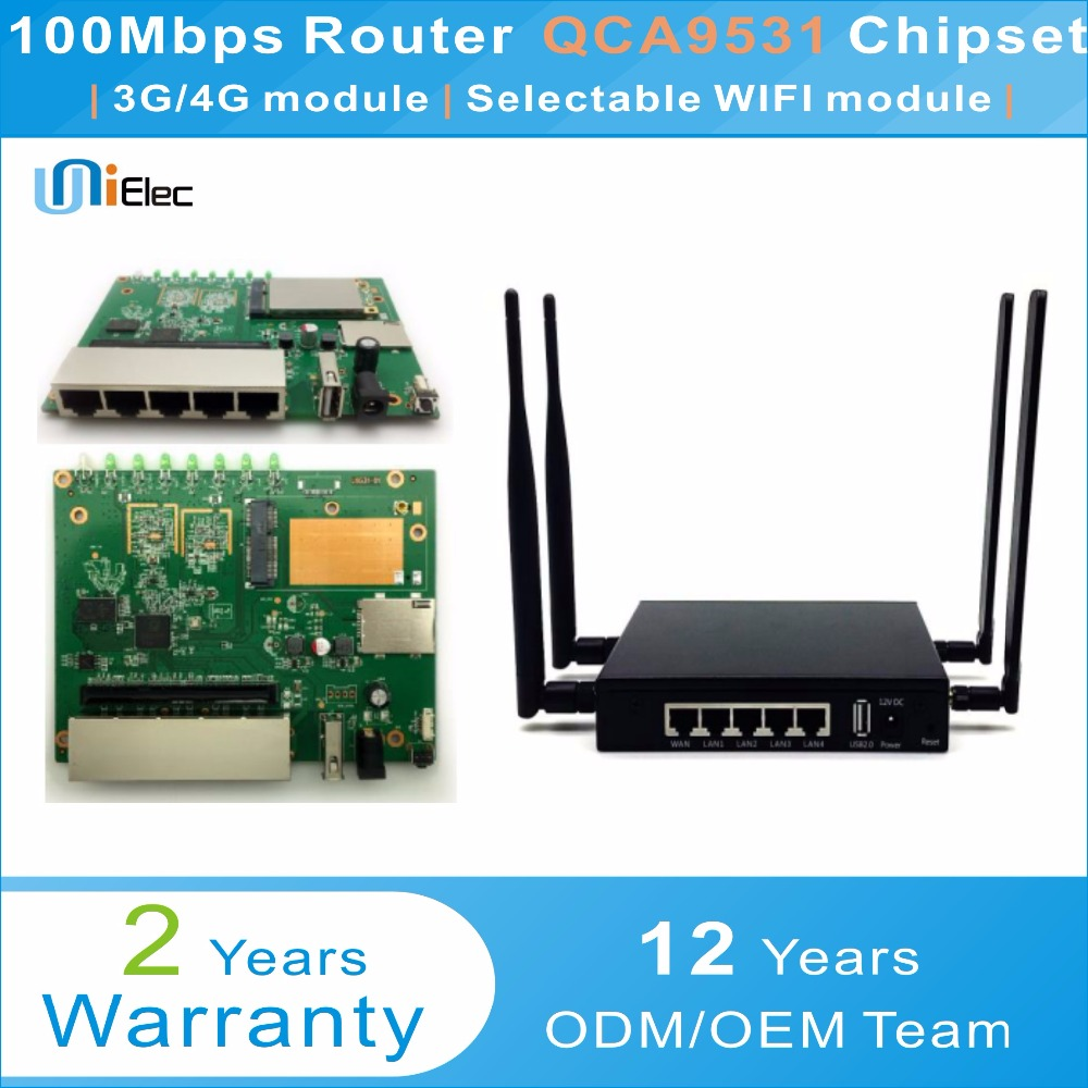 Qualcomm QCA9531 2 4G Router Firewall OpenWRT QSDK MT7612 Chipset WIFI PCBA  ODM OEM Custom Sim Card Board