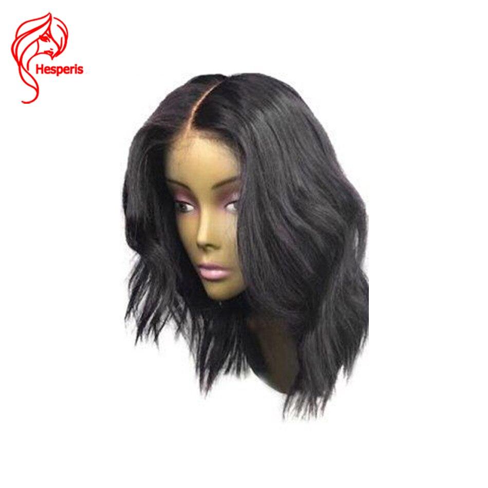 13*6 Vague Naturelle Cheveux Brésiliens Partie Profonde Avant de Lacet Perruque de Cheveux Humains avec Bébé Cheveux Court Bob Perruques Pour Les Femmes Noires Noeuds Blanchis