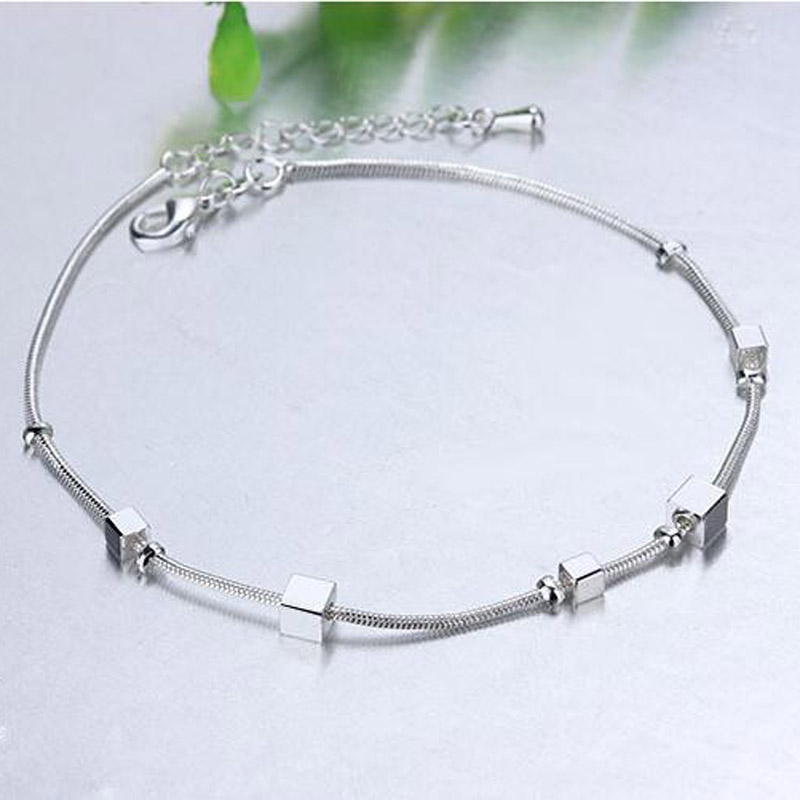 Trendy Jewelry Ankle Chain Bracelet 925 Silver Square Chain Anklets Korea Jewelry Gift