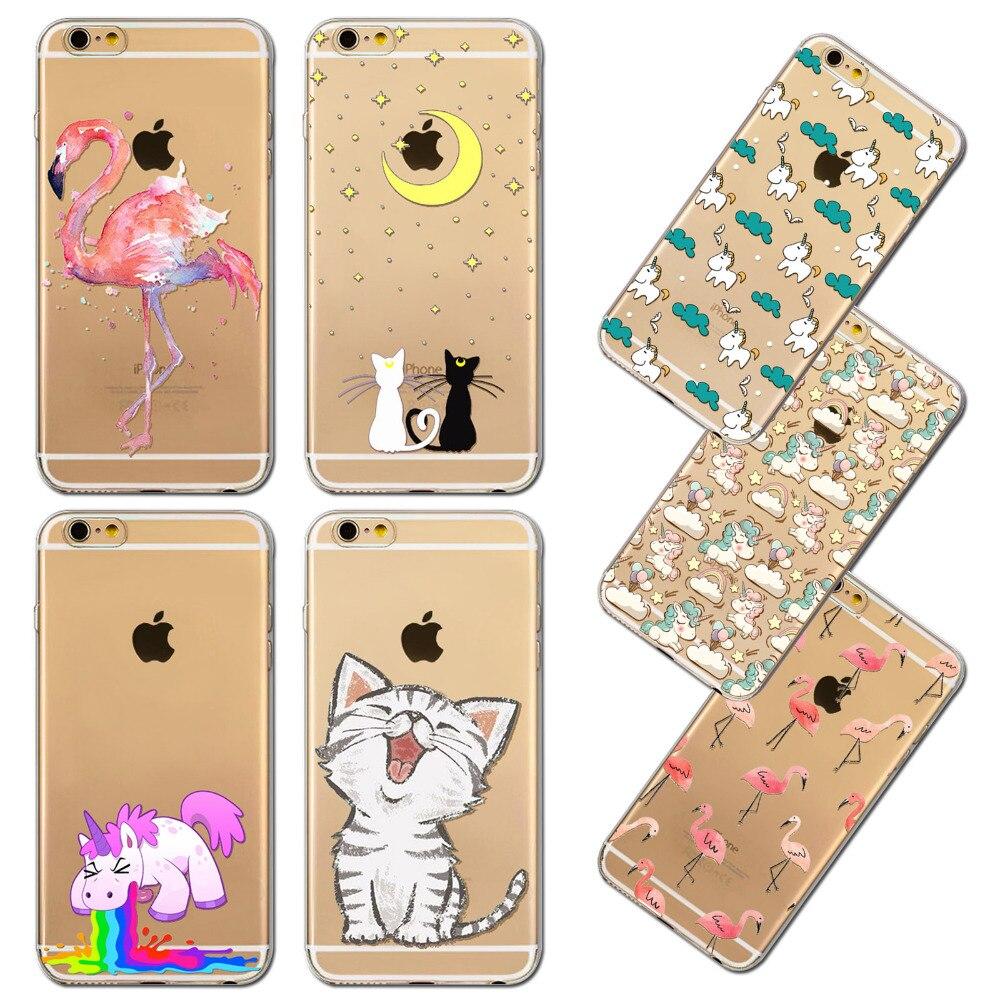 Cute Cat Case Cover For iphone 6 6S Flamingos Unicorn Kardashian emoji Transparent Silicone Phone bag Cases Fundas Capa Coque