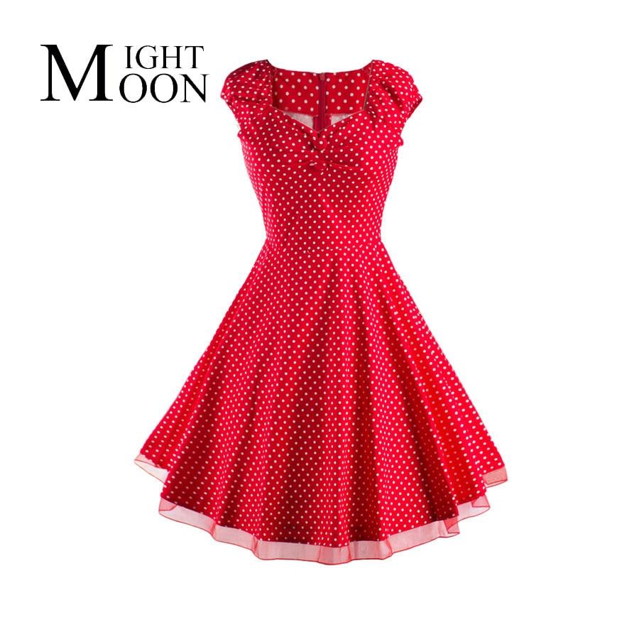 MOONIGHT Women 1950s Vintage Polka Dot Dress Summer Ruffles Tunic Retro Rockabilly Sexy Mesh Hemline Dresses Vestidos