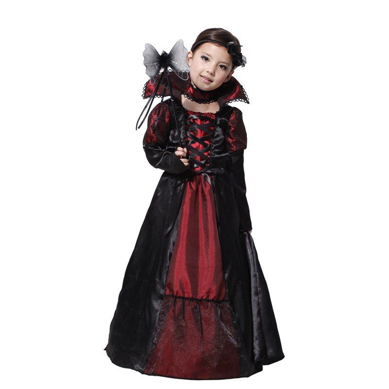 VASHEJIANG Halloween Princess Vampire Costume for Girl Children's day Costumes Long Dress vampire Costume for Halloween Party