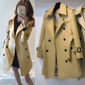 Women's 2017 New Trench Coat Lady Elegant Overcoat Spring Trenches Blends Long design with belt hood Autumn Winter High Quality