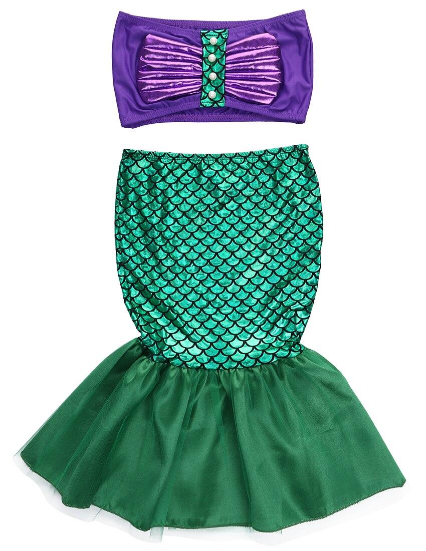 the little mermaid tail princess ariel dress cosplay costume kids for girl fancy green dress  Платье